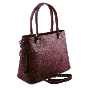 Sac Cuir Motifs Femme  Bordeaux -Tuscany Leather-