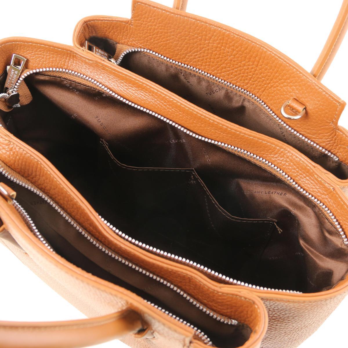 Sac à Main Cuir Souple Femme Camel - Tuscany Leather -