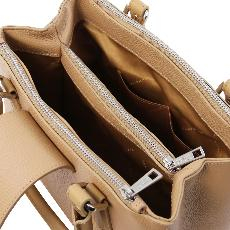 Sac à Main Cuir Grainé Femme Beige - Tuscany Leather -