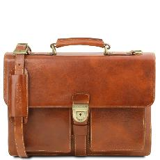 Cartable Cuir 3 Compartiments Homme Camel - Tuscany Leather -