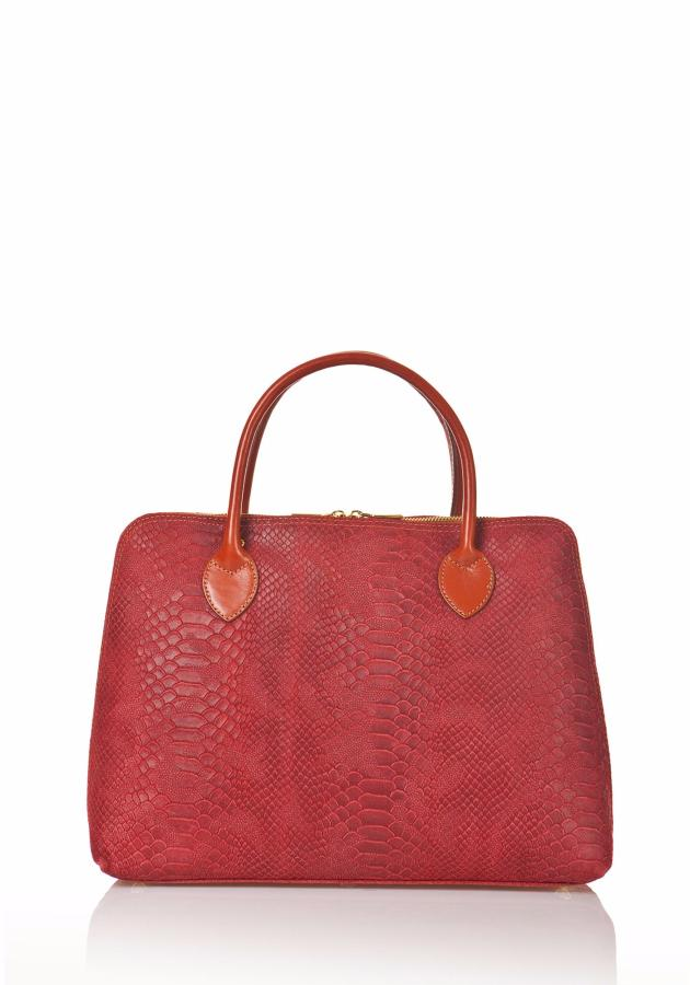 Sac Cuir Python Femme Rouge LUCY