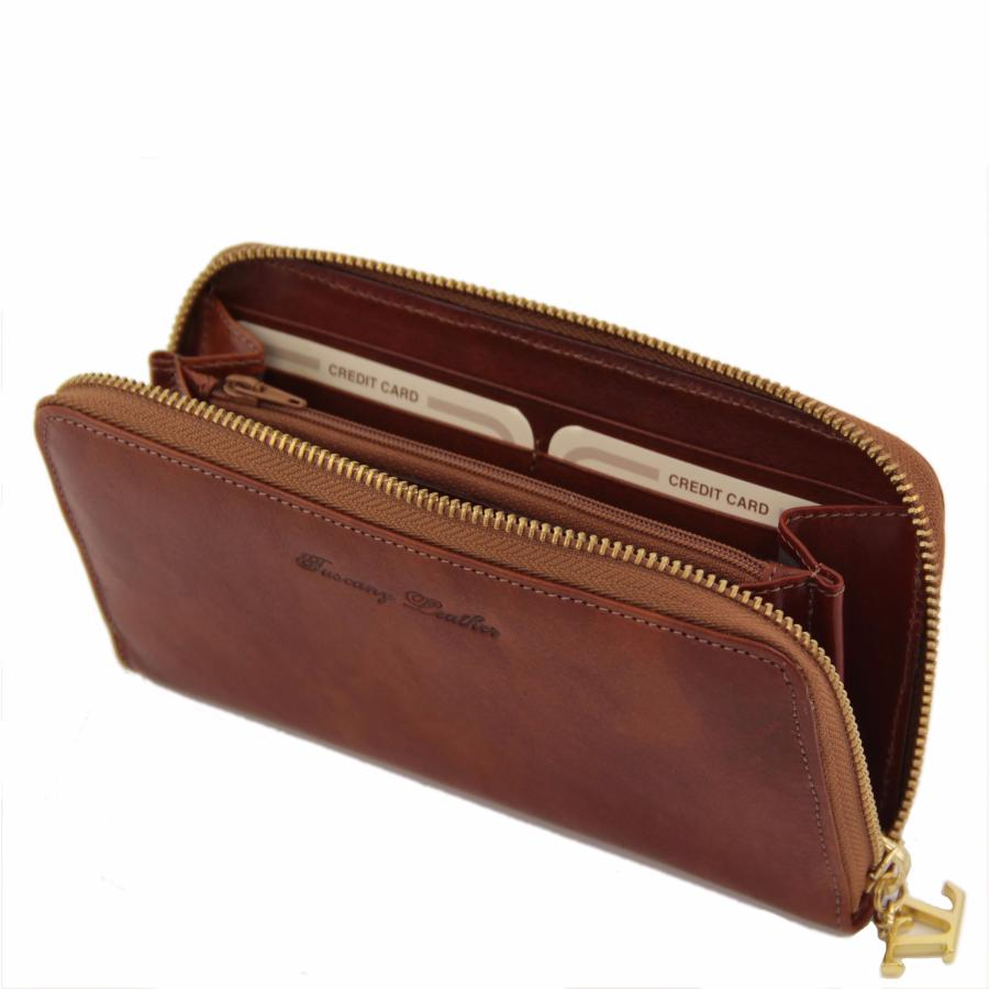 e009c08dad83 Portefeuille Compagnon Cuir Femme Marron - Tuscany Leather -