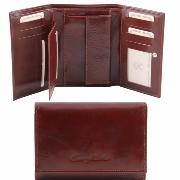 Portefeuille Cuir Femme à Compartiments Marron -Tuscany Leather-