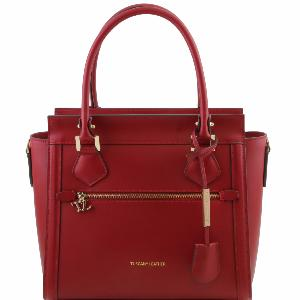 Sac Cuir Chic Femme Mode Rouge -TUSCANY LEATHER-