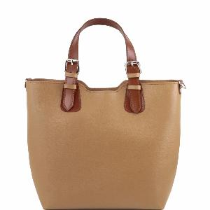 Sac Cabas Cuir Femme Marron -Tuscany Leather-