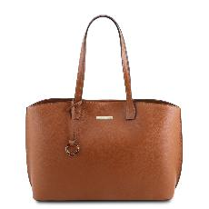 Grand Sac Cabas Cuir Femme Camel - Tuscany Leather -