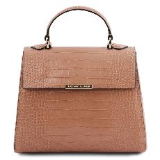 Solde Petit Sac Cuir Croco Femme Beige - Tuscany Leather -