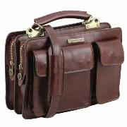 Sac Sacoche Cuir à Compartiments Femme Marron -Tuscany Leather-