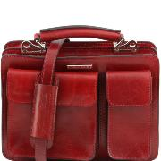 Sac Sacoche Cuir Rouge à Compartiments Femme Tania -Tuscany Leather-