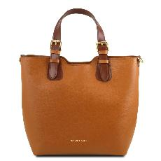 Sac Cabas Cuir Femme Camel - Tuscany Leather -