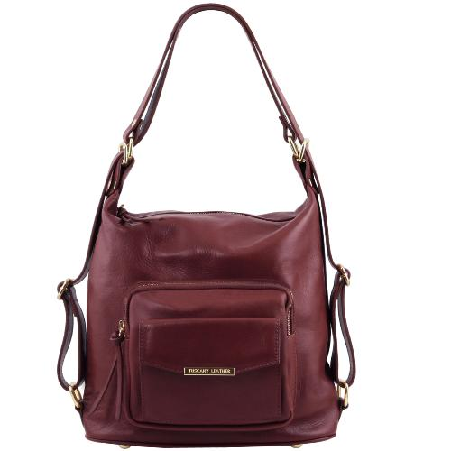 Sac Femme Cuir Transformable Sac à Dos Bordeaux -Tuscany Leather -