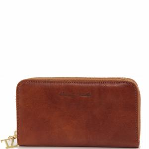Portefeuille Cuir 3 Soufflets Femme Camel  -Tuscany Leather-