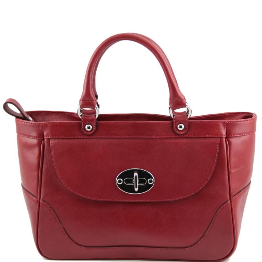 Grand Sac Cuir Femme 2 Compartiments Rouge - Tuscany Leather- f61fbc9813e7