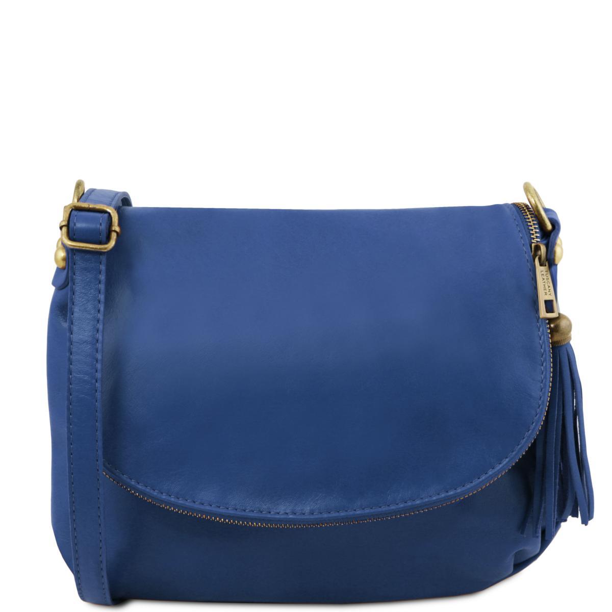 Sac Bandoulière Cuir Besace Femme Bleu -Tuscany Leather- Bleu