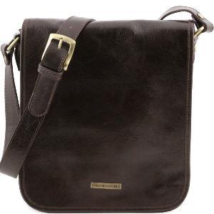 Sac Bandoulière Cuir Homme 2 Compartiments Marron Foncé -Tuscany Leather-