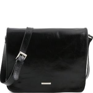 Grand Sac Bandoulière Cuir Homme Messenger  Noir -Tuscany Leather-