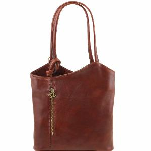 Sac Cuir Convertible Sac à Dos Femme Marron - Tuscany Leather -