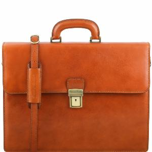 Cartable Cuir 2 Compartiments Miel  -Tuscany Leather -