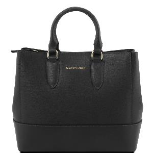 Sac Cuir Femme 2 Compartiments Noir -Tuscany Leather-