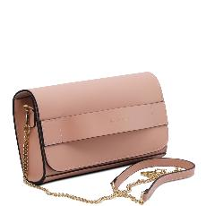 Sac Pochette Cuir et Chainette Femme Beige Rosé - Tuscany Leather -