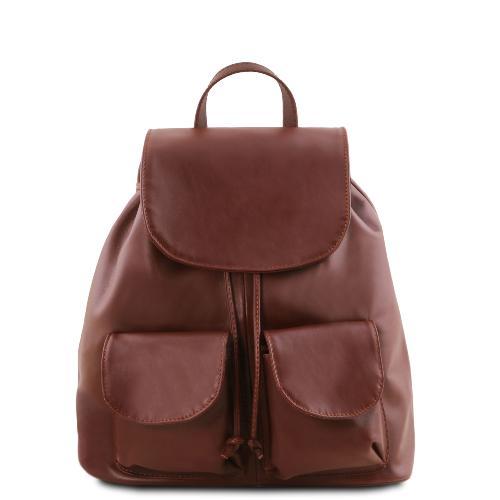 c73b47f449 Sac à Dos Femme Cuir Souple à Poches Marron -Tuscany Leather-
