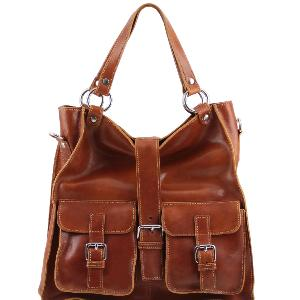 Grand Sac Cuir Femme Camel - Tuscany Leather -