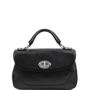 Sac à Main Cuir Femme Vintage 2 Compartiments Noir -Tuscany Leather-