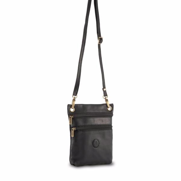 Petit Sac à Main Cuir Noir Bandoulière : Petit sac bandouli?re cuir unisexe nuvolla pelle