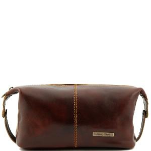 Grande Trousse de Toilette Roxy Cuir Marron -Tuscany Leather-