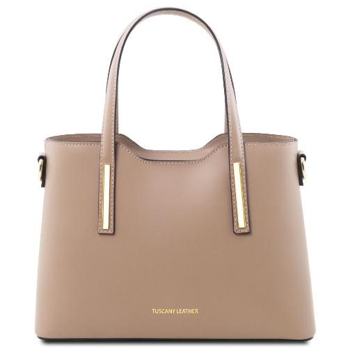 Sac Cuir 2 Compartiments Femme Taupe - Tuscany Leather -