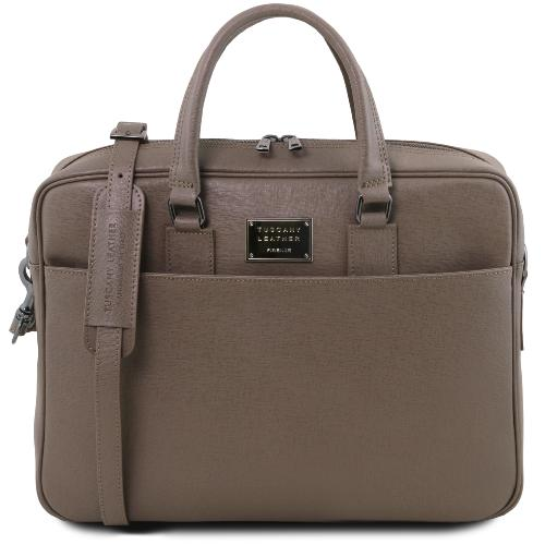Sac Cuir Ordinateur Portable Taupe -Tuscany Leather-