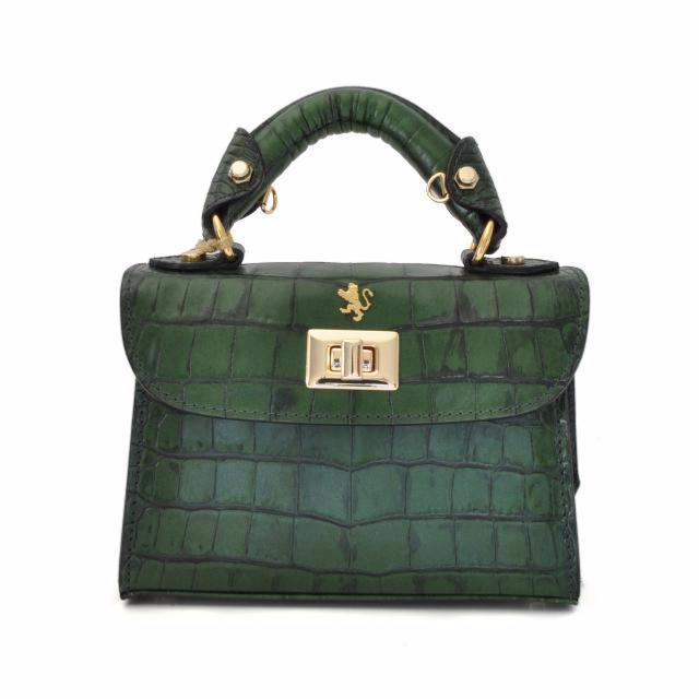 fd19bbfba3d9b Petit Sac Cuir Croco Femme Vert - Pratesi -