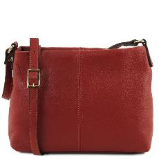 Sac Bandoulière Cuir Souple Femme Rouge - Tuscany Leather -