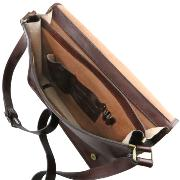Grand Sac Bandoulière Cuir 2 Compartiments Marron -Tuscany Leather-