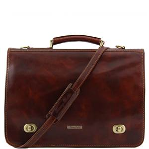 Serviette Cuir 2 Compartiments Poches Marron   -Tuscany Leather-