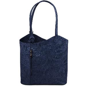 Sac à Dos Cuir Transformable Femme Bleu - Tuscany Leather -
