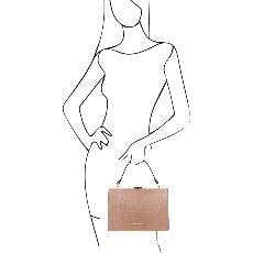 Sac à Main Cuir Croco Chic Femme Beige - Tuscany Leather -