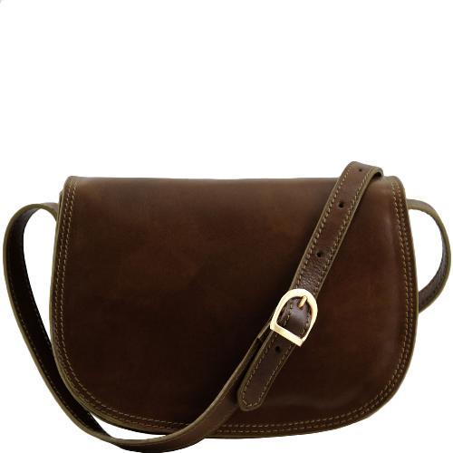 Sac Bandoulière Cuir Femme Marron Foncé -Tuscany Leather-