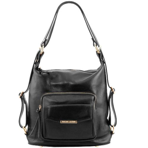 Sac Cuir Transformable Sac à Dos Femme Noir -Tuscany Leather -