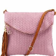 Sac Bandoulière Cuir Hippie Chic Femme rose -Tuscany Leather-