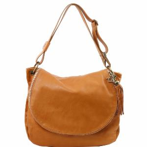 Grand Sac Cuir Bandoulière Besace Femme Cognac -Tuscany Leather-