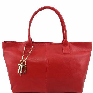 Grand Sac Cabas Epaule Cuir Femme Rouge -Tuscany Leather-