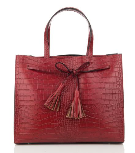Sac Cabas Cuir Croco Femme Rouge - First Lady Firenze -