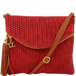Sac Bandoulière Cuir Hippie Chic Femme Rouge -Tuscany Leather-