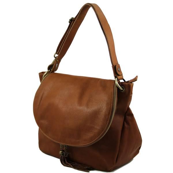 Sac à Main Bandoulière Femme Marron : Grand sac cuir bandouli?re besace pour femme tuscany leather