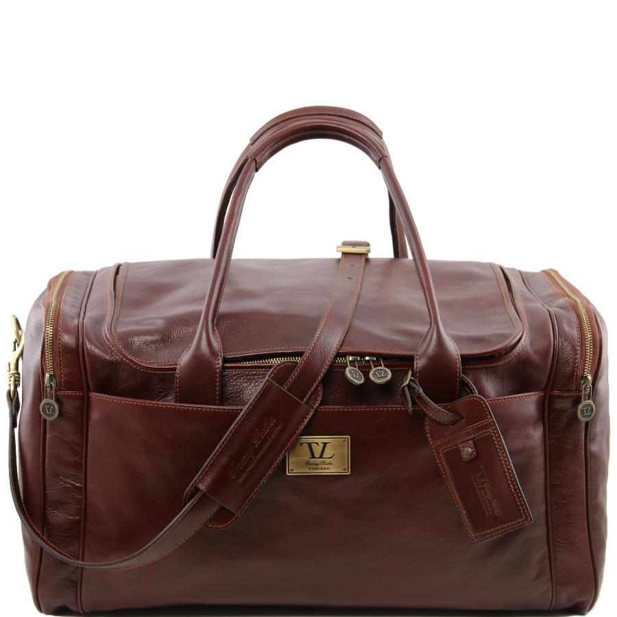 Tuscany Leather TL Voyager Sac de voyage en cuir avec poches aux côtés Marron gy3IlVv0