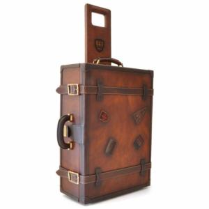 Valise Trolley Cuir Vintage Luxe avec Roulettes -PRATESI-