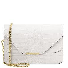 Sac Bandoulière Cuir Chainette Blanc - Tuscany Leather -