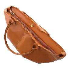 Grand Sac  Epaule Cuir Femme Miel - Tuscany Leather -