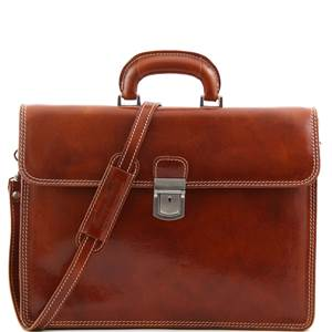 Cartable Cuir Vintage 2 Compartiments Miel-Tuscany Leather-